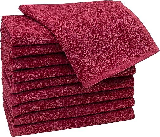 ZOLLNER 10 Toallas de tocador de algodón 100%, 30x50 cm, Rojo ...