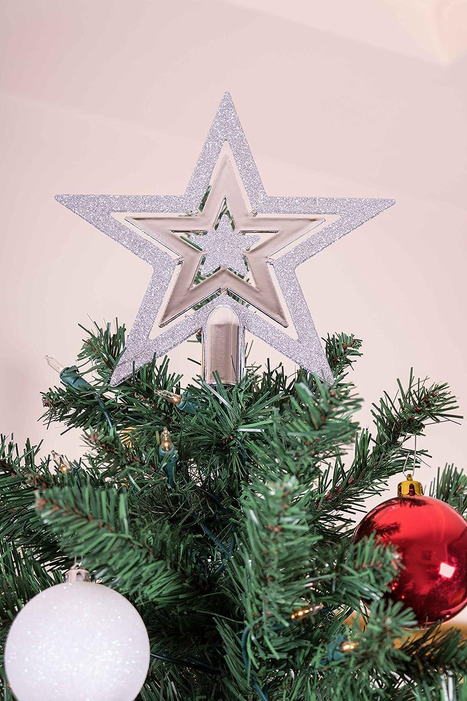 Weihnachtsbaumspitze in Sternform Clever Creations bruchsicherer Kunststoff Festliche Weihnachtsdeko Silberfarben /& Wei/ß 16,5 cm f/ür Weihnachtsb/äume jeder Gr/ö/ße