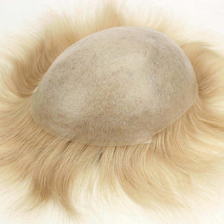 Cabello humano 100 % natural de Lordhair, piel súper fina y transparente, de 0,08 mm, rizos en V, base de 1,3 cm, 20,3 x 25,4 cm, 12,7-15,2 cm de largo: ...