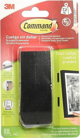 Command 17206BLK Pack de 4 tiras para cuadros grandes color negro, Set de 4 Piezas: Amazon.es: Bricolaje y herramientas