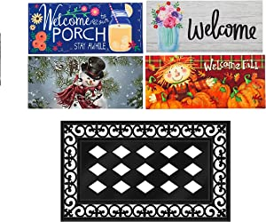 Evergreen Flag Indoor Outdoor Décor for Homes Gardens and Yards Sassafras 4 Seasons Set of 5 Interchangeable Mats and Tray
