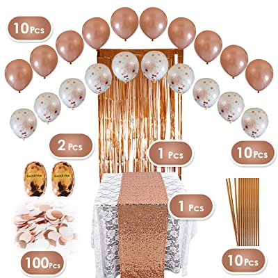 Rose Gold Party Decorations Set - 134 pc Pink and Gold Party Supplies - Perfect Decor for Birthday, Bachelorette Parties, Bridal or Baby Shower: Toys & Games