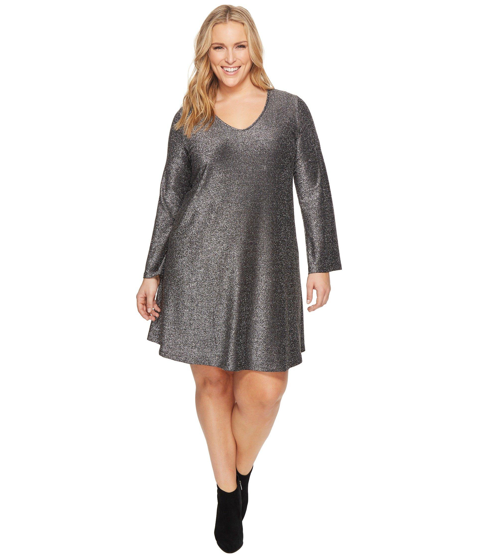 Karen Kane Women's Plus Size Sparkle Taylor Dress, Black With Silver, 2X