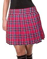 Red Schoolgirl Tartan Plaid Pleated Long Skirt Stewart18