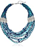 """Short Multi-Row Turquoise and Blue Seed Bead Statement Necklace with Bead Accents, silver tone, 18-23"""" with 3"""" extender"""