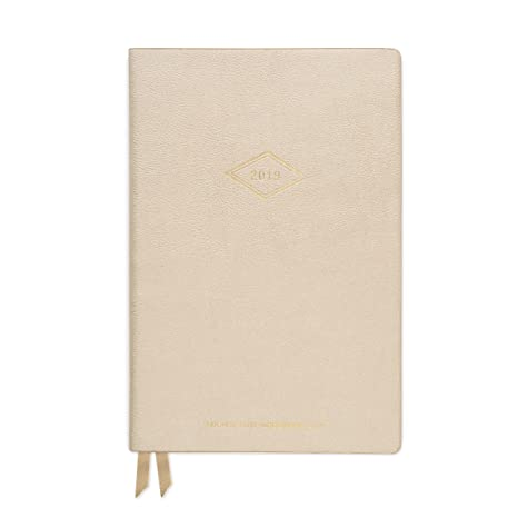 DesignWorks Ink Soft Cover Vegan Leather 17-Month Medium Agenda Book, Gold- Vintage Diamond Year