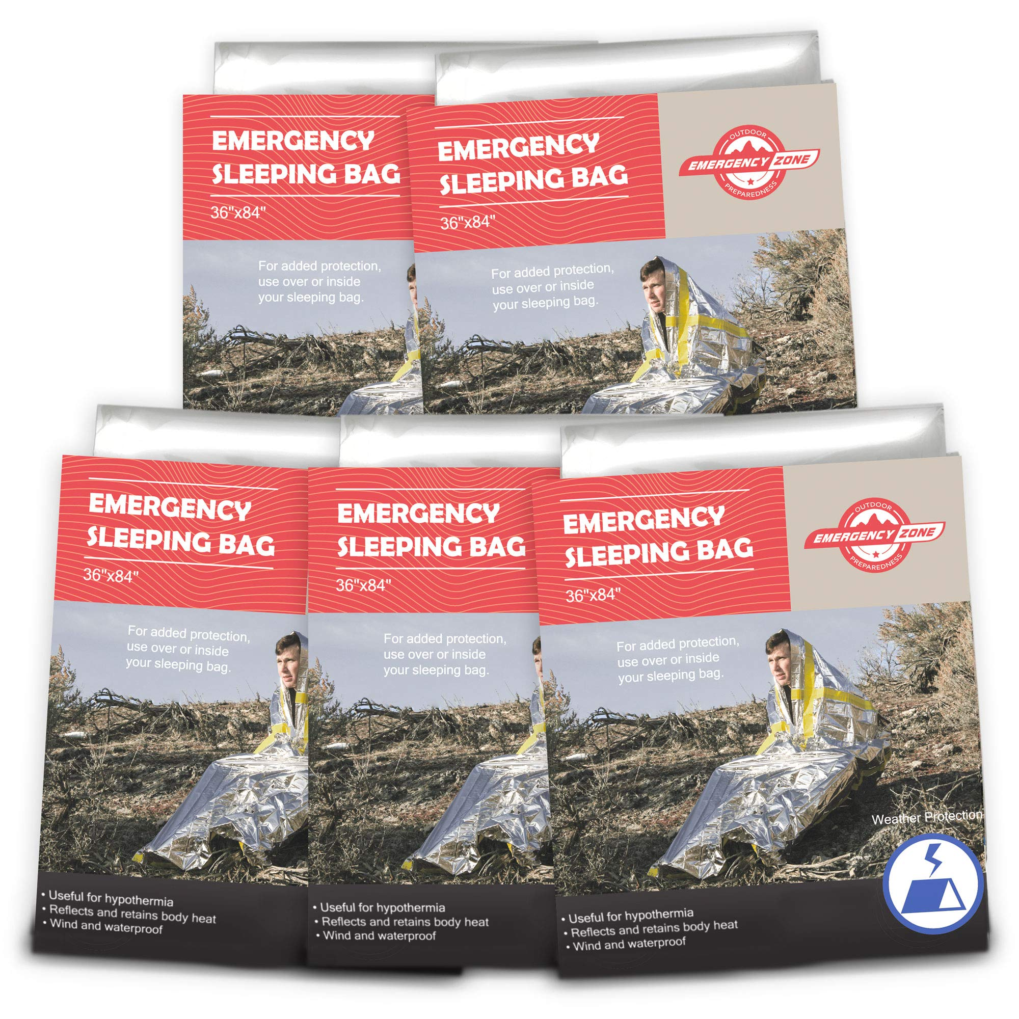 Emergency Zone Emergency Sleeping Bag, Survival Bag, 1, 5, 12, and 144 Packs Available by Emergency Zone