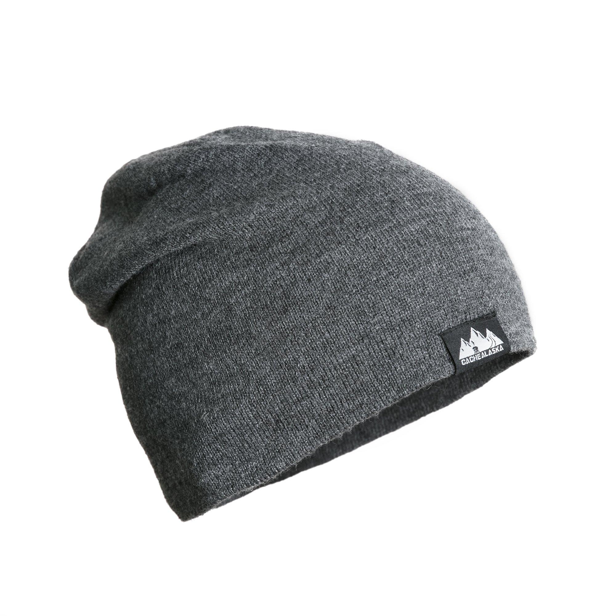 CacheAlaska - Slouchy Beanie - Cuff Skull Cap - Premium Knit hat for Men or Women - Grey