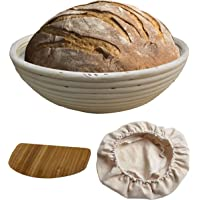 "Round Bread Proofing Baskets | Artisan Wicker Cane Brotform for Batard Sourdough with Dough Scraper and Liner by Made Terra Baking Tools (10"" Round)"