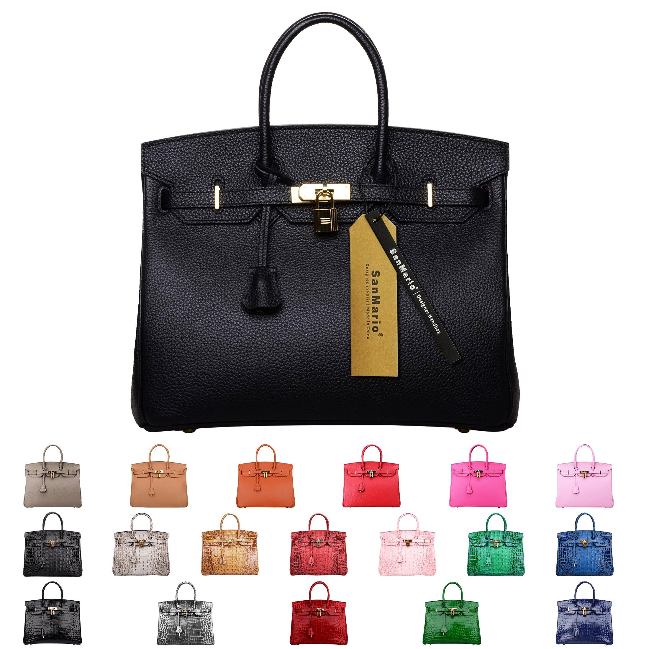 SanMario Designer Handbag Top Handle Padlock Women's Leather Bag with Golden Hardware Black 35cm/14'' by SanMario