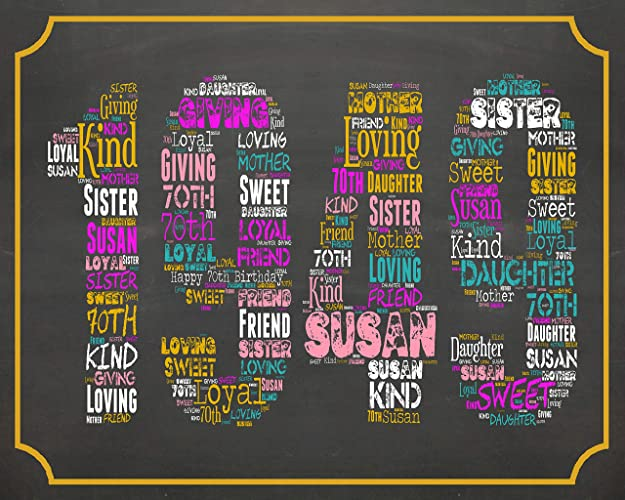 70th Birthday Gifts 70 Seventy Gift For Mom Dad Grandma Grandad Chalkboard Decoration Banner Sign Keepsake Her Him