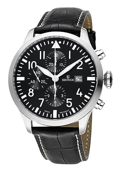 Kronos - Pilot Automatic Chronograph Black 991.55 - Reloj de caballero automático, correa de piel
