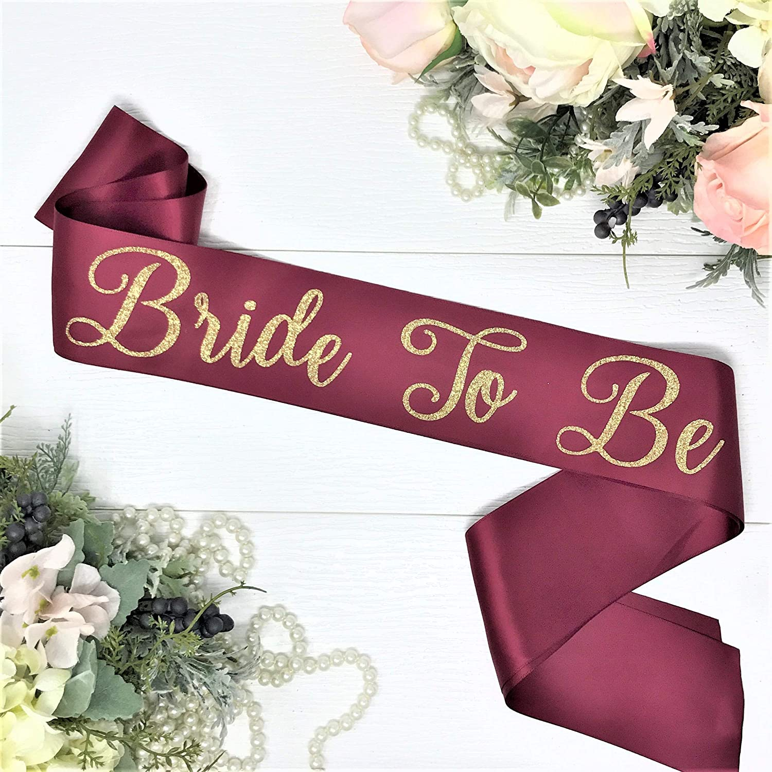 Bachelorette Sash - Wine Satin - Gold