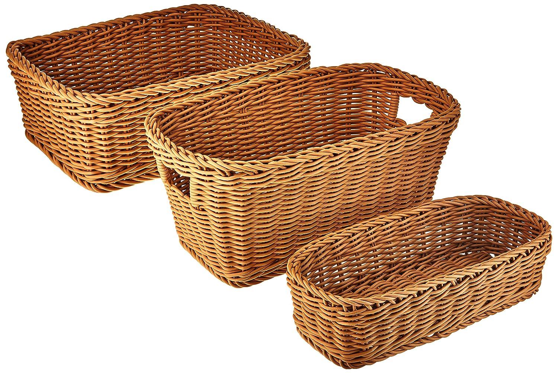 Seville Classics Nesting Wicker Weave Storage Basket Set 3-Piece, Ivory WEB365