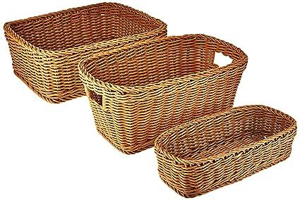 Seville Classics Nesting Wicker Weave Storage Basket Set 3 Piece, Light  Brown