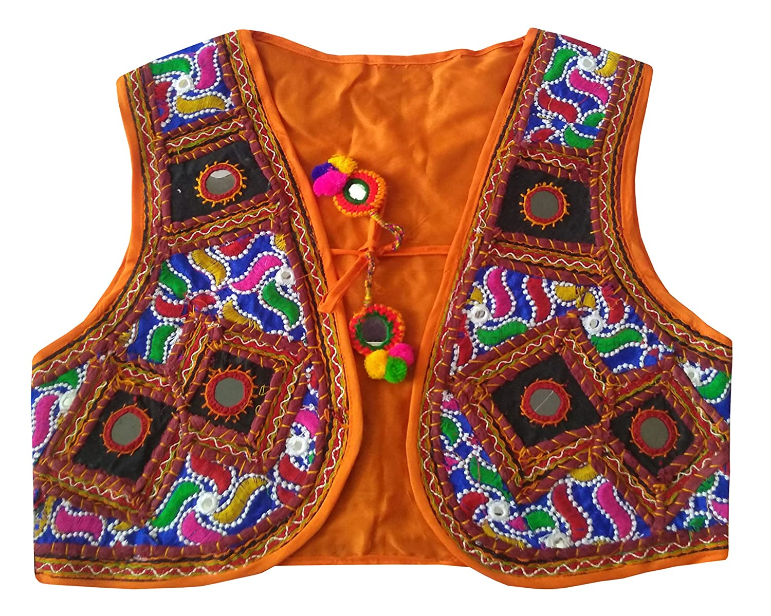 b46e1b740a60 PULAA Orange Original Mirror Work Vest - Banjara Style Jacket ...