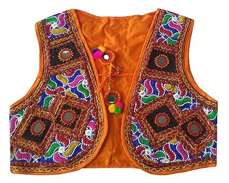 Pulaa Orange Original Mirror Work Vest Banjara Style Jacket