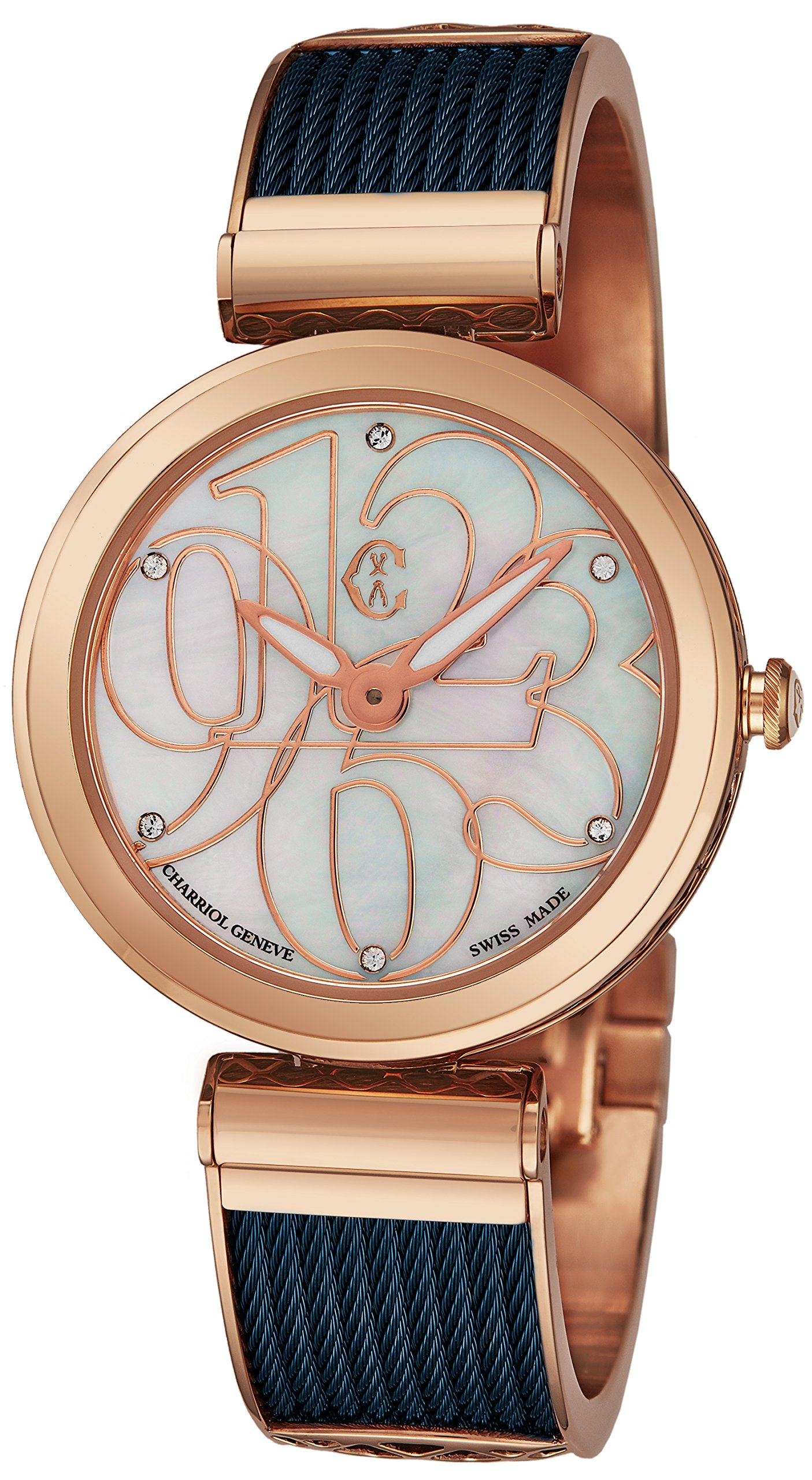 9a499996c1f Charriol  Forever Mixed Numerals  Womens Watches Rose Gold Stainless Steel  - 32mm Analog Mother of Pearl Face Ladies Dress Watch - Blue Twisted Cable  ...