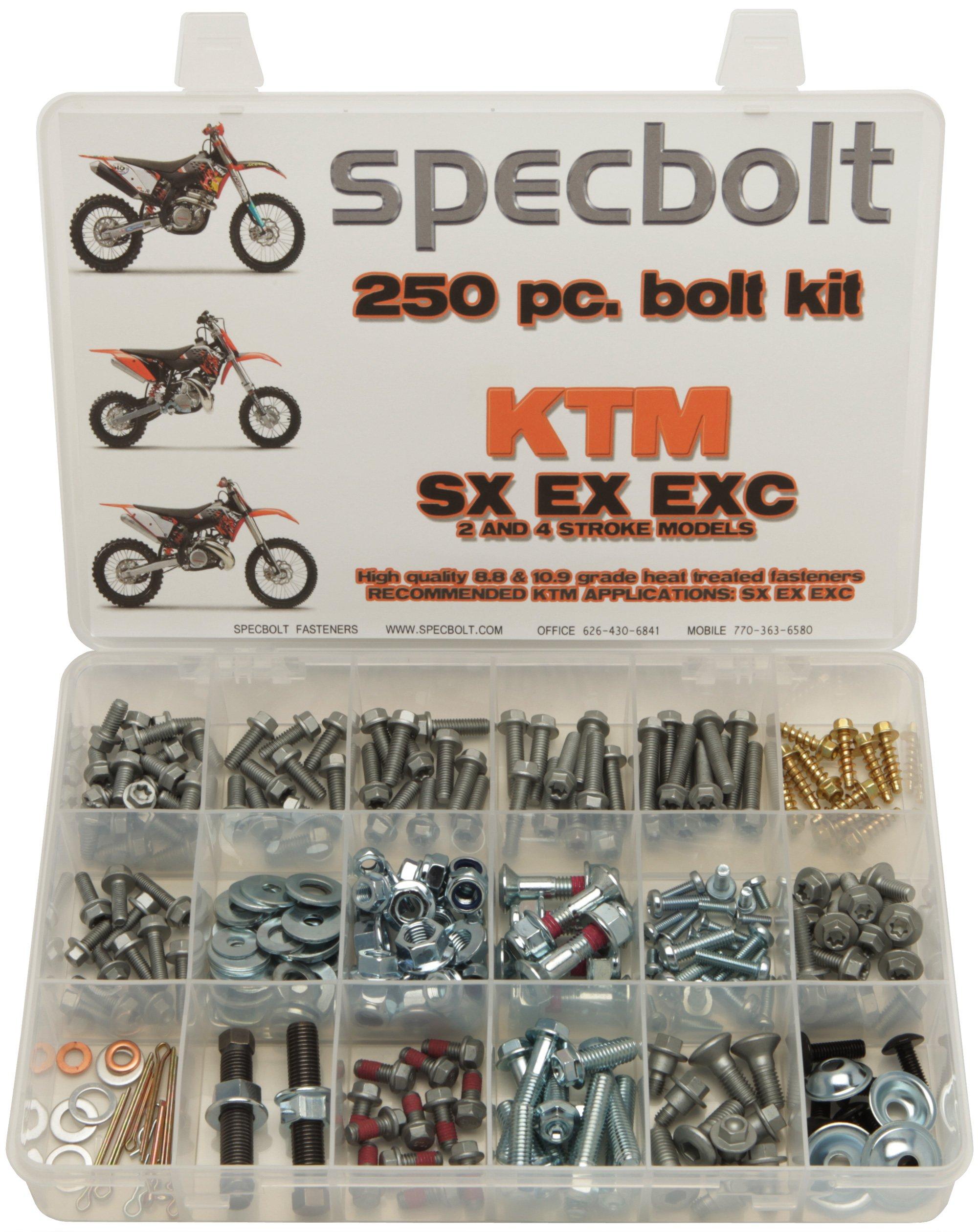 250pc Specbolt KTM SX EX EXC Bolt Kit for Maintenance & Restoration of MX Dirtbike OEM Spec Fastener. This includes 2 STROKES: 50 60 65 85 105 125 250 300 550 4 STROKES: 250 350 400 450 500 520 525