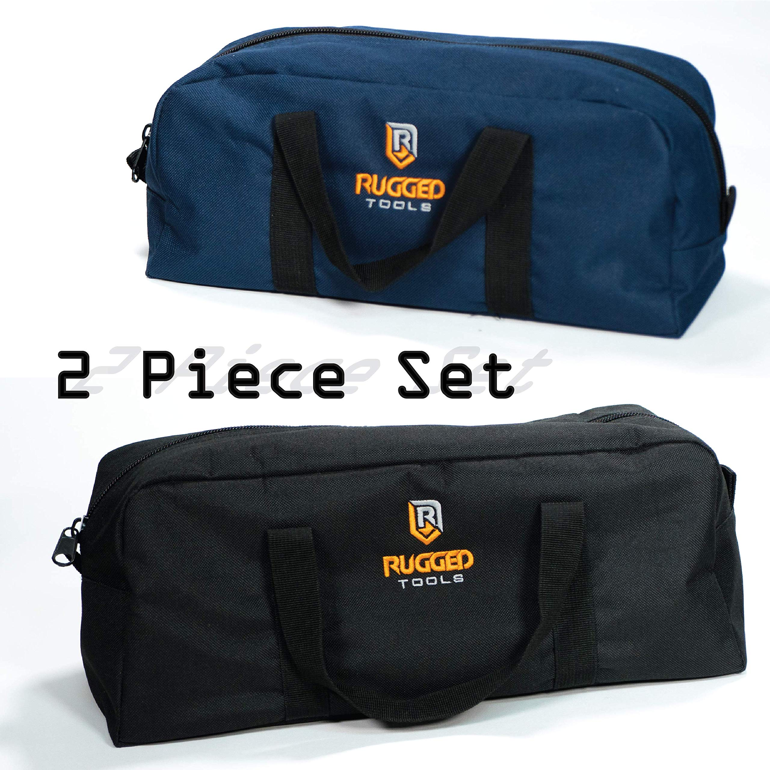 Rugged Tools Tool Bag Combo - Includes 1 Small & 1 Medium Toolbag - Organizer Tote Bags for Electrician, Plumbing, Gardening, HVAC & More