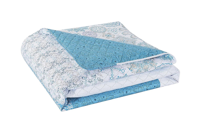 DecoKing Tagesdecke 170 x 210 cm t/ürkis wei/ß grau Bett/überwurf mit abstraktem Muster zweiseitig pflegeleicht Alhambra hellblau himmelblau White Turquise Light Blue Grey
