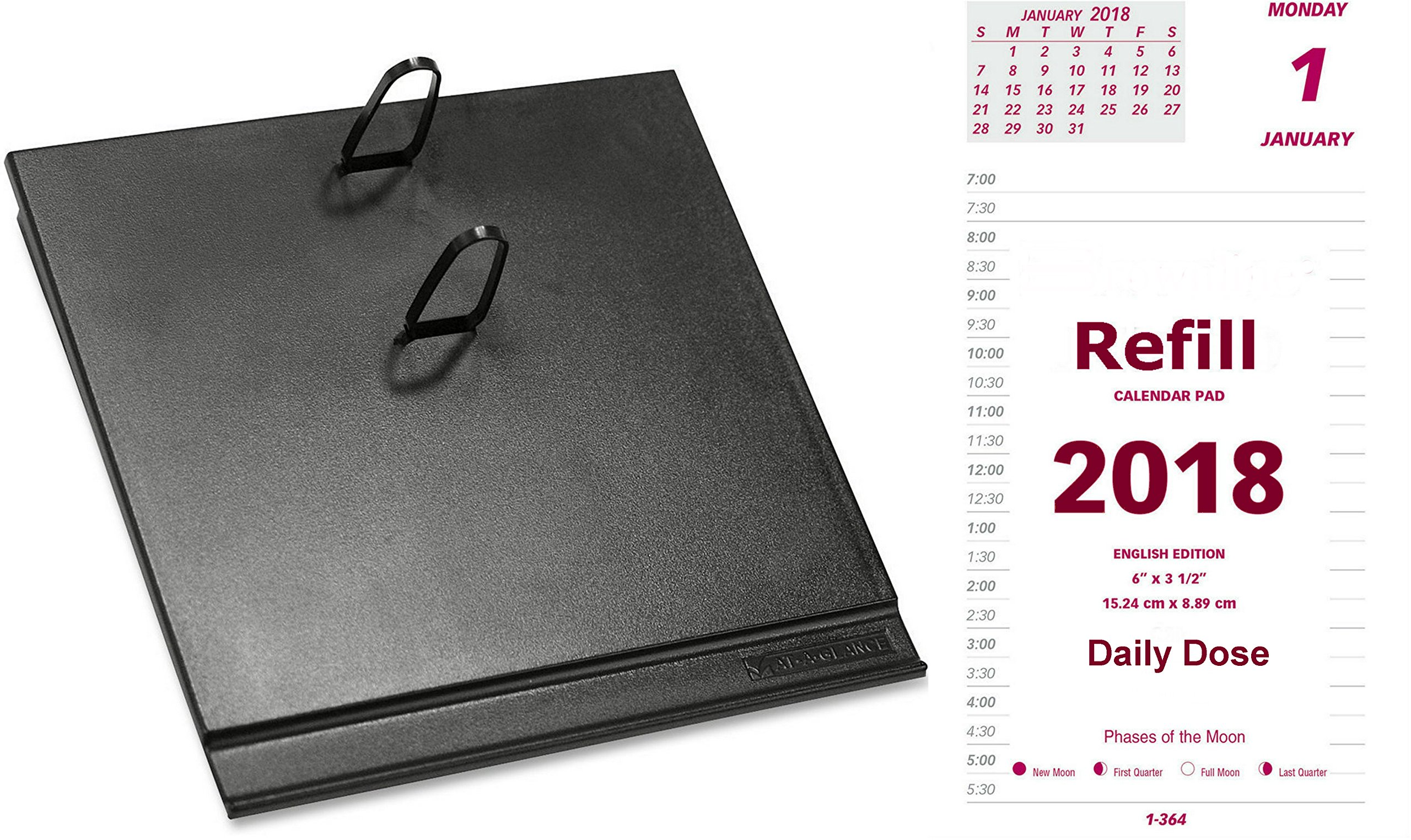 2018 Daily Calendar Set, Includes Daily Refill and Base (Black Plastic Calendar Holder with Metal Clips),  Compare to At-A-Glance E717-50 and E17-00