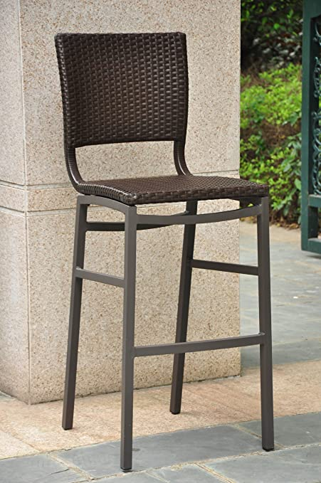 Magnificent Barcelona Resin Wicker Outdoor Bar Height Chairs Stools Set Of2 Evergreenethics Interior Chair Design Evergreenethicsorg