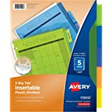 Avery Big Tab Insertable Plastic Dividers, 5 Multicolor Tabs, 1 Set (11900)