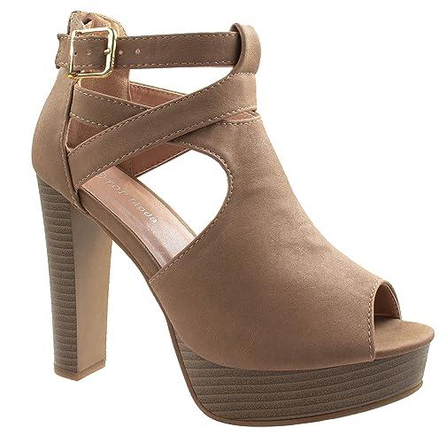 Toe Superior Moda Asushoes Mujer Zapatos Parte Lovely Peep 90 rdBxCoQWe