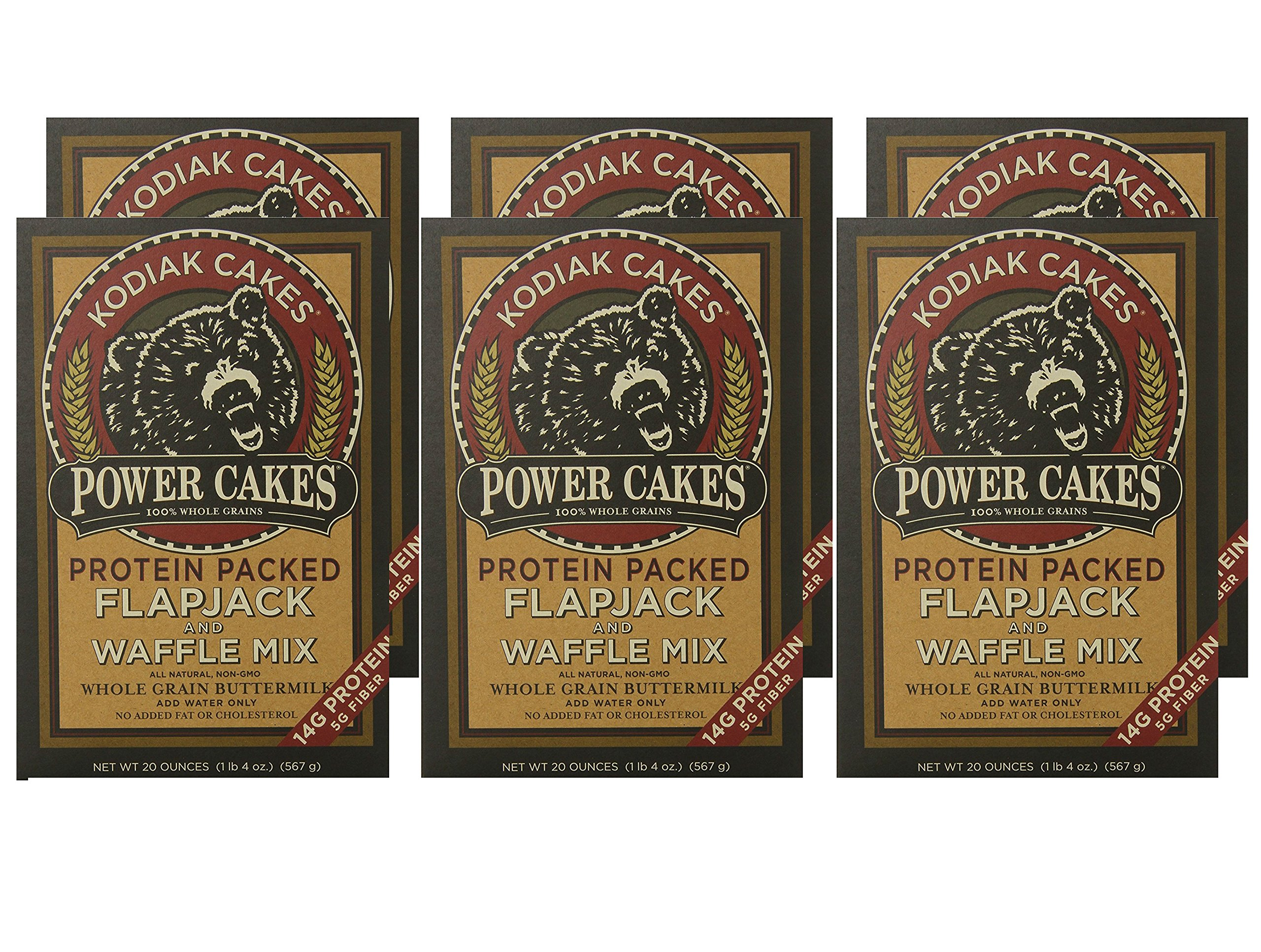 Kodiak Cakes Power Cakes, All Natural, Non GMO Protein Pancake, Flapjack and Waffle Mix, Buttermilk, 20 Ounce (Pack of 6)