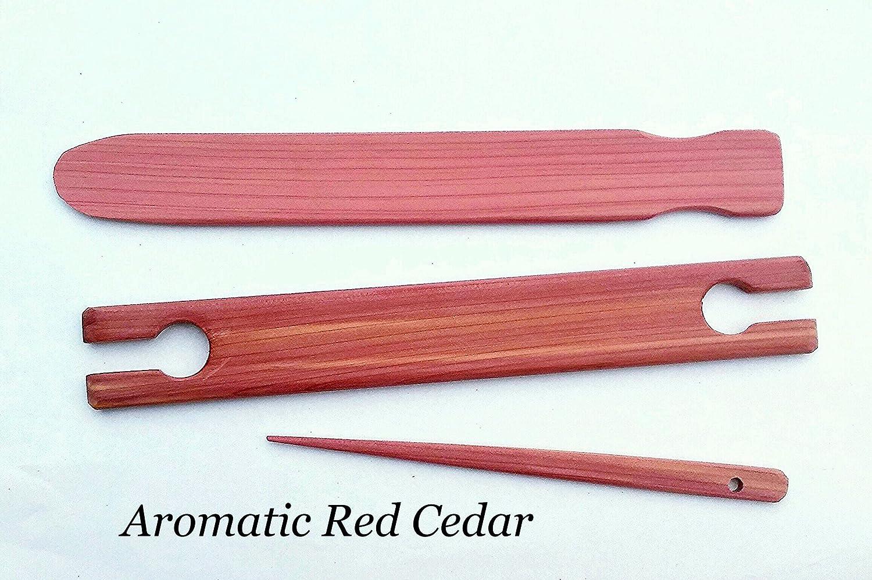 3 Piece 18 inch x 1.5 wide Aromatic red cedar weaving stick shuttle kit LoomsAndToolz CDRShttl-kit-018