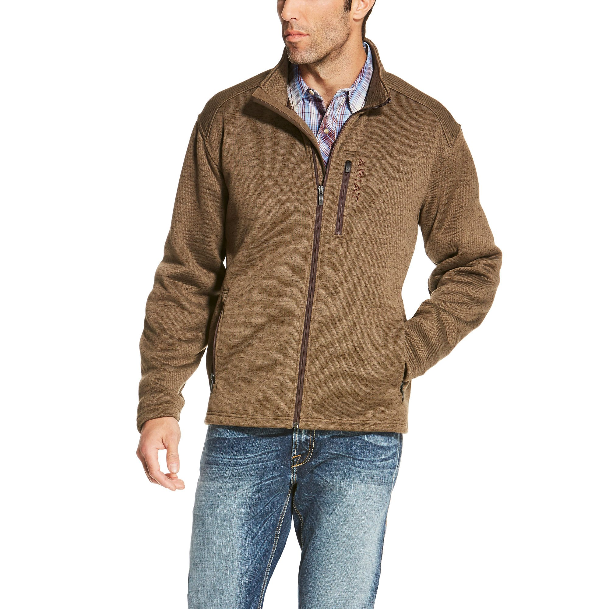 Ariat Men's Caldwell Full Zip Sweater, Fossil, X-Large
