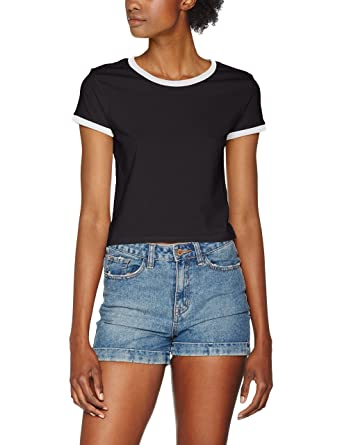 214ca97a120a27 Urban Classic Women s s Ladies Cropped Ringer Tee T-Shirt Black ...