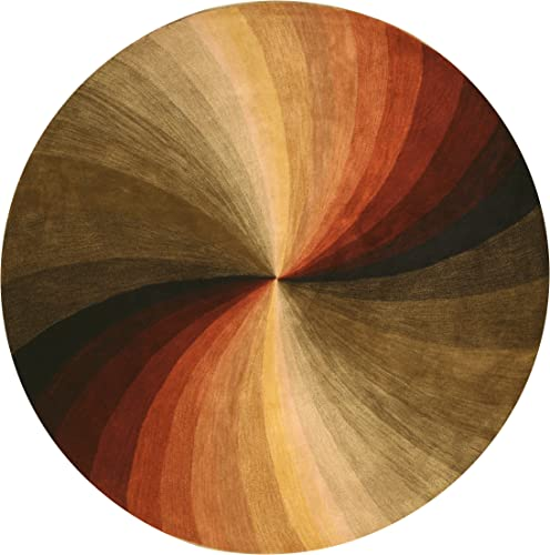 EORC SLMU Hand Tufted Wool Swirl Rug, 7 9 Round, Multicolor