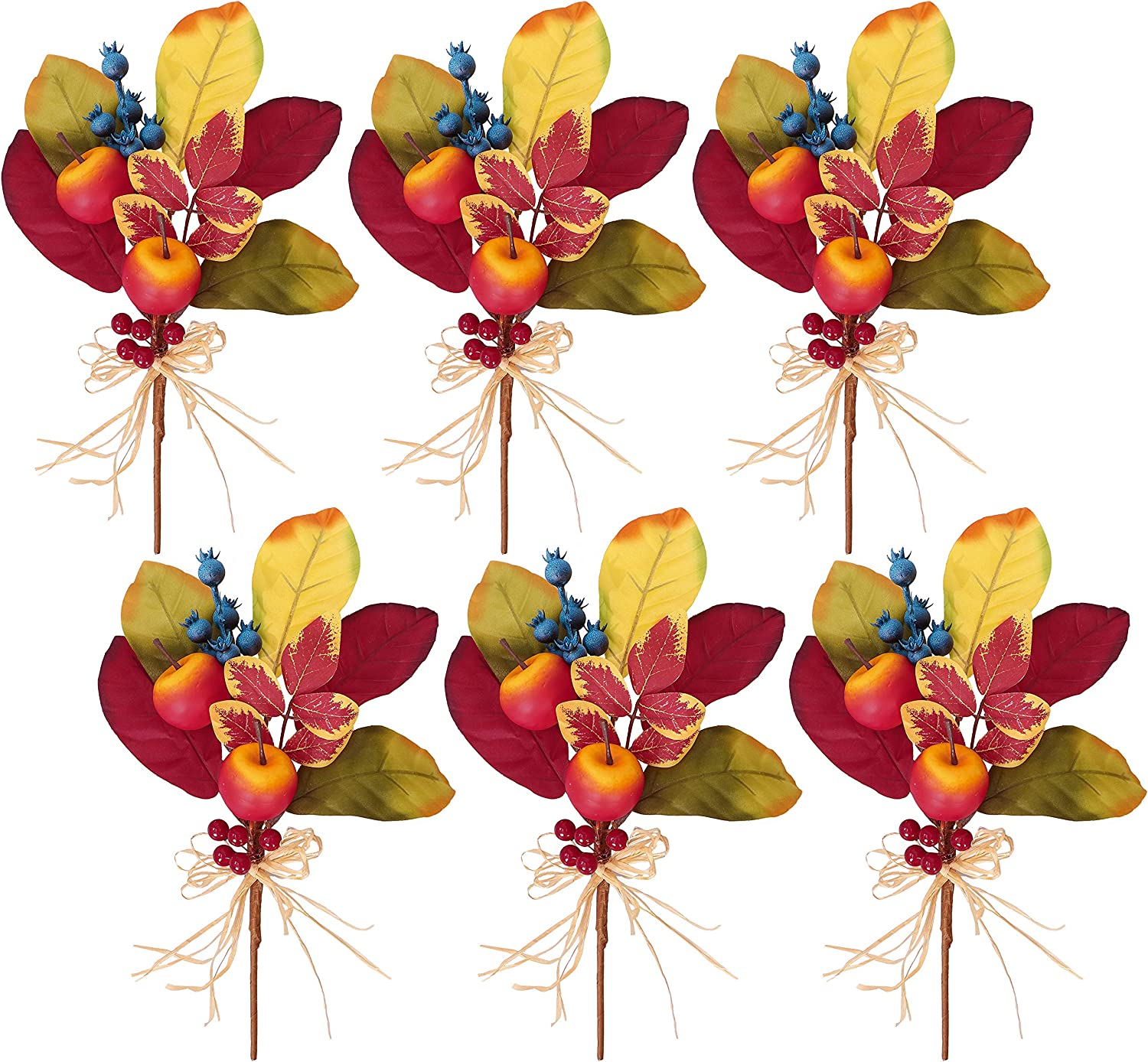 Valery Madelyn 6 Packs Fall Picks with Apple and Blueberry, Fall Stems for Vases, Artificial Floral Picks, Fruit Branches Decorations for Home Thanksgiving Harvest Summer Autumn Table Centerpiece