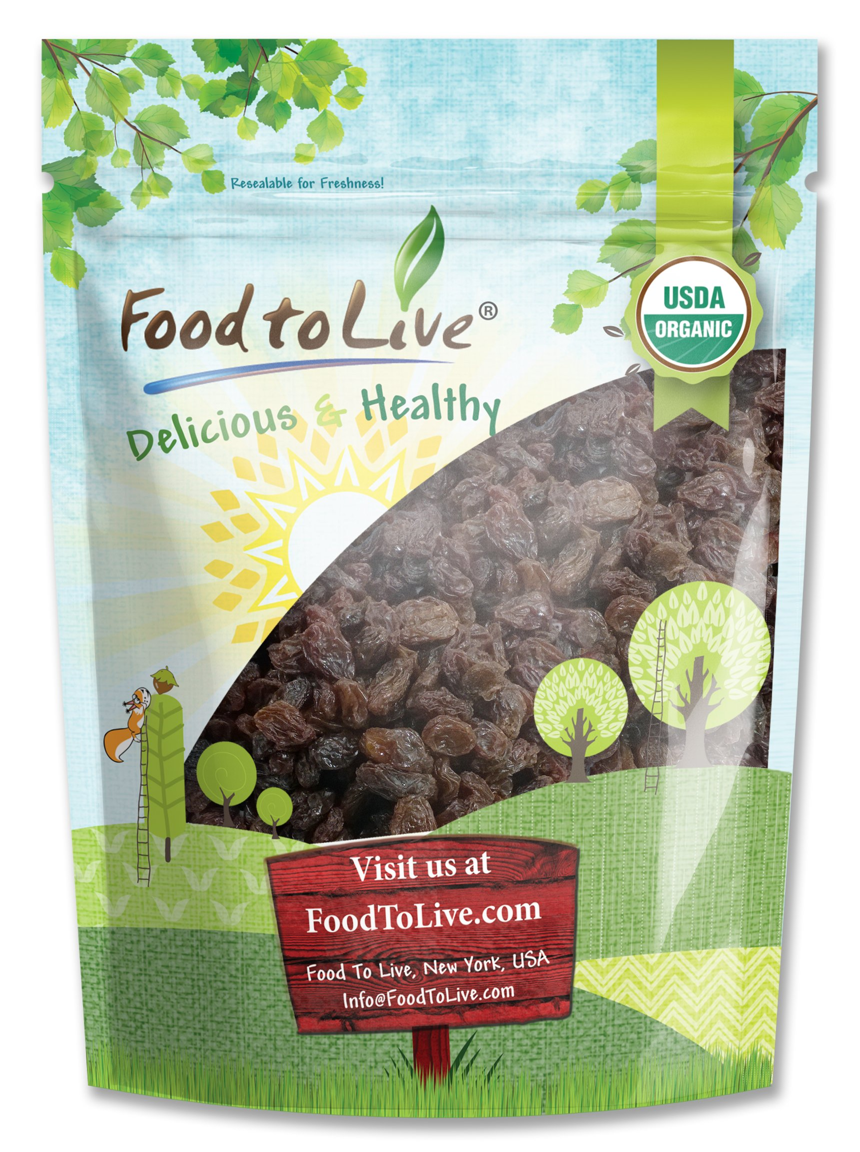 Organic California Thompson Seedless Raisins by Food To Live (Sun-Dried, Non-GMO, Kosher, Unsulphured, Bulk, Lightly Coated with Organic Sunflower Oil) - 4 Pounds by Food To Live