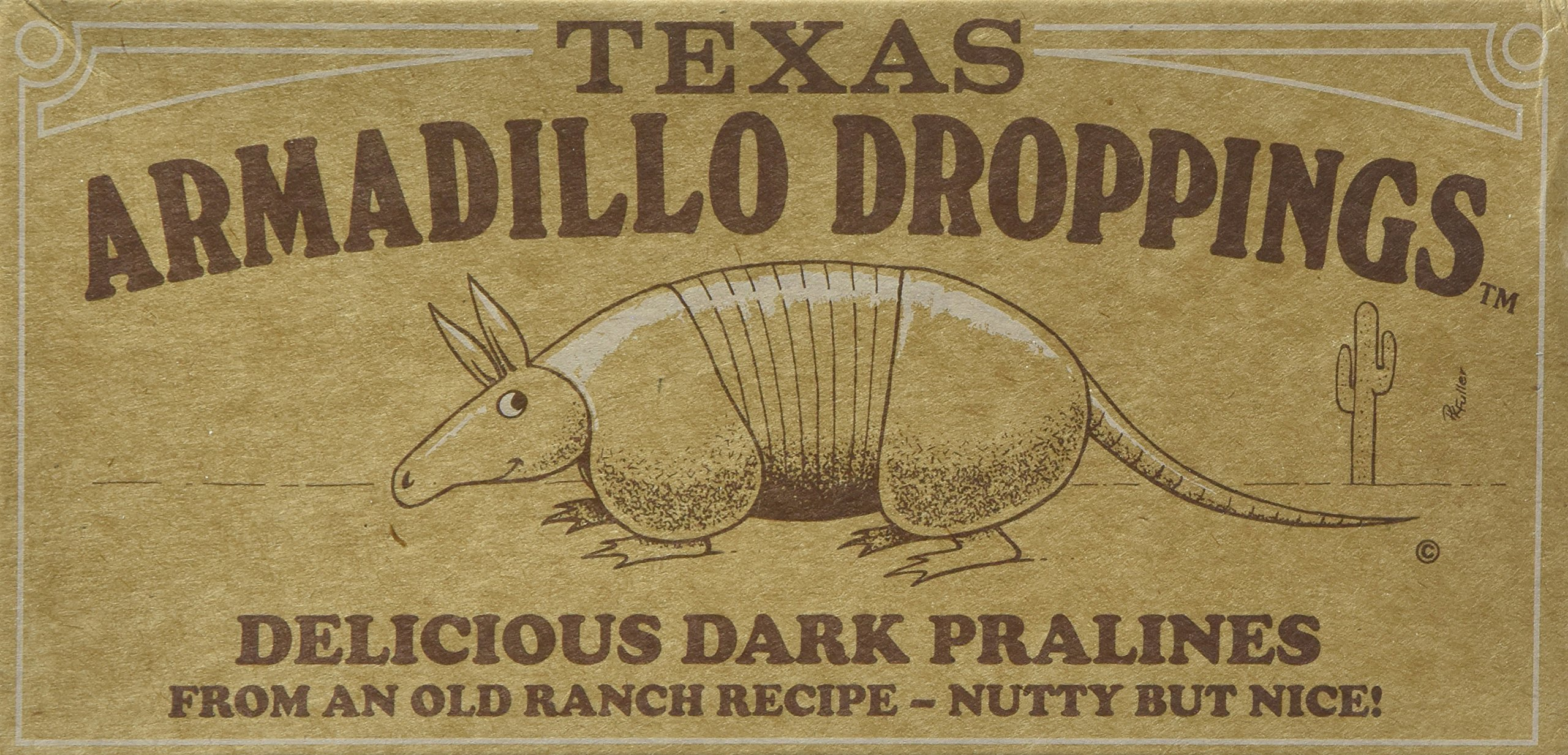 Texas Armadillo Droppings Delicious Dark Pecan Pralines Gift Box - 12 Oz. by Armadillo Droppings