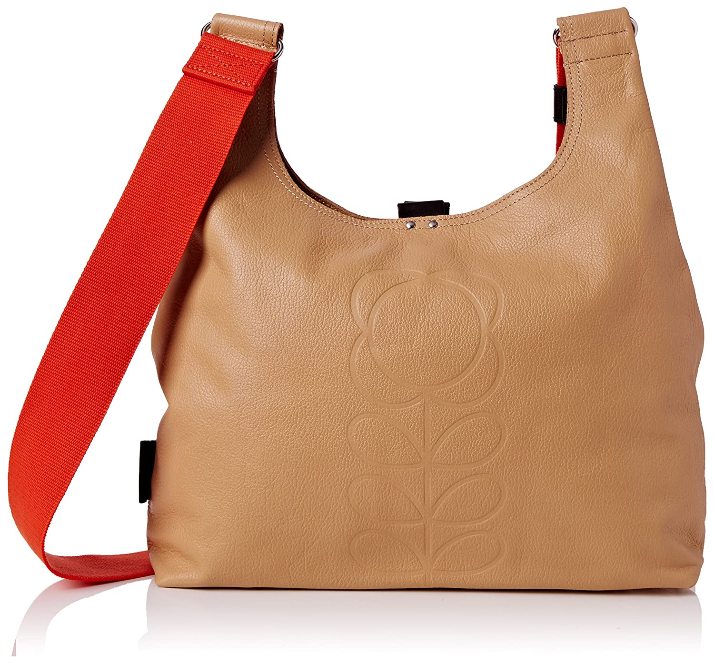 Orla Kiely Embossed Flower Leather Midi Sling Bag, Sand: Handbags ...
