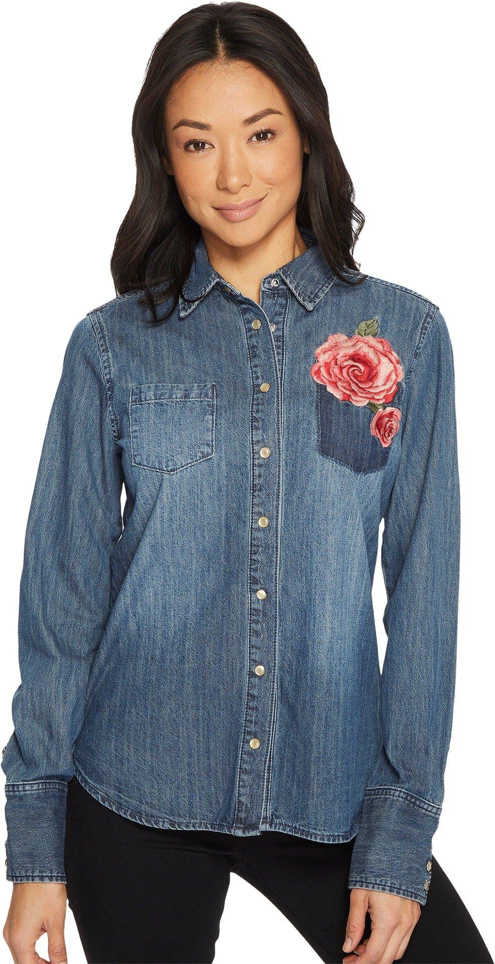Stetson Women's Boyfriend Fit Western Shirt 60z Blue Medium