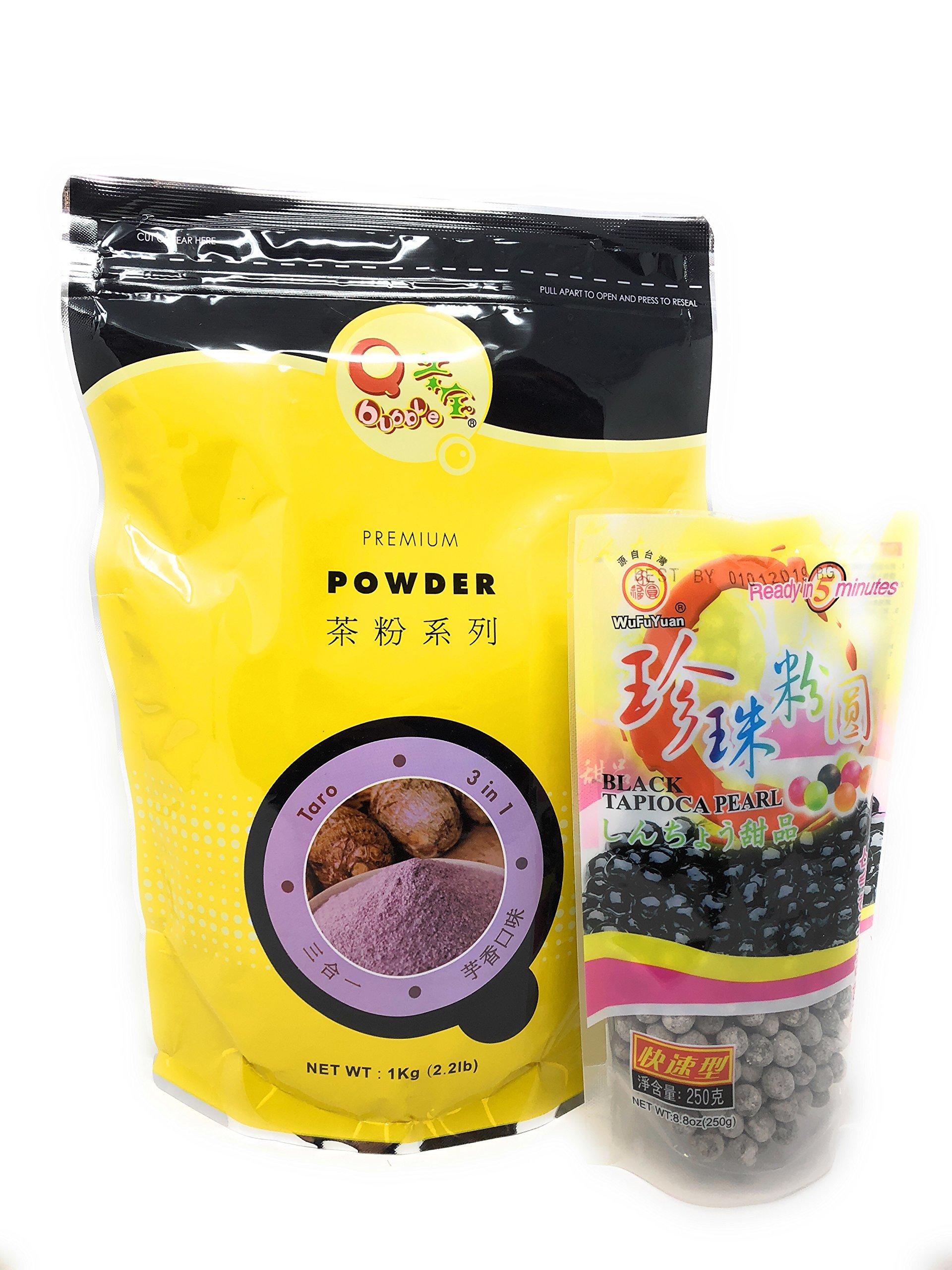 Qbubble Tea Taro Powder, 2.2 Pound & WuFuYuan - Tapioca Pearl (Black) - Net Wt. 8.8 Oz Fusion Select