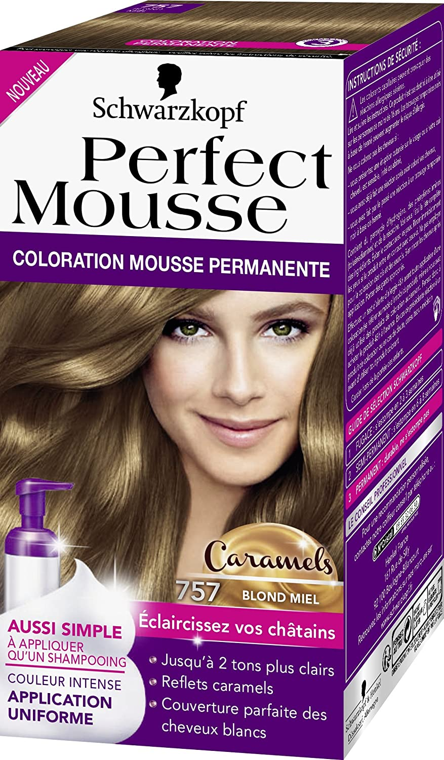 schwarzkopf perfect mousse coloration permanente 757 caramels blond miel 35 ml - Coloration Sans Ammoniaque Schwarzkopf