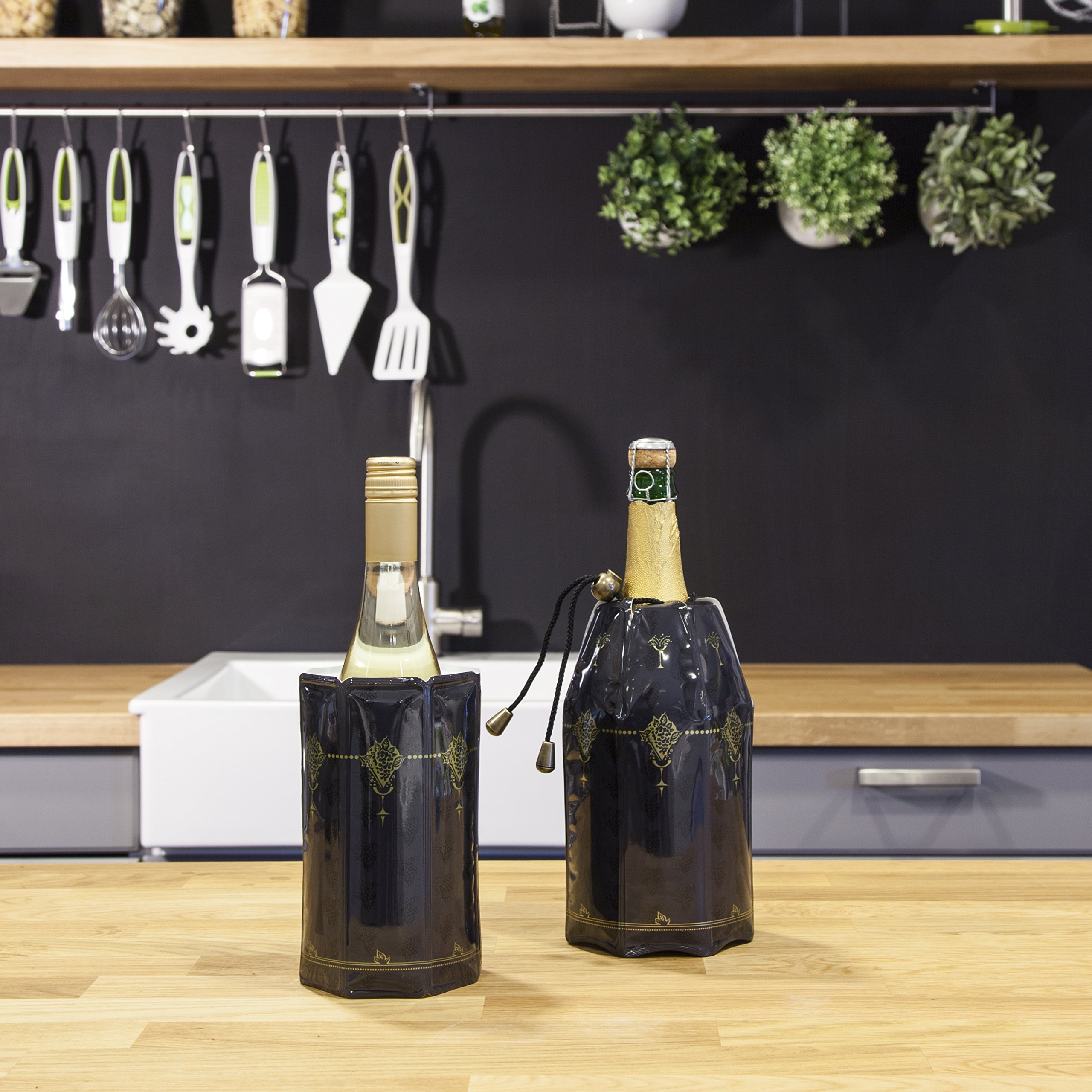 Vacuvin Rapid Ice Classic Wine & Champagne Cooler Plastic Black 22 cmx 29.8 cmx 3 cm