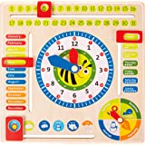 Small Foot Wooden Toys Educational Board Date, Time & Season Wooden Educational Toy Playset Designed for Children 3+