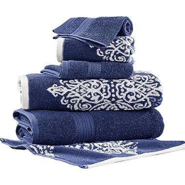 Amrapur Overseas | Artesia Damask 6 Piece Reversible Yarn Dyed Jacquard Towel Set (Indigo)