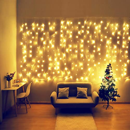 Fiee Curtain Lights,13ftx6.5ft Safety Window Curtain Icicle String Lights with Memory 30V 8 Modes for Christmas Wedding Party Family Patio Lawn Decoration Warm White