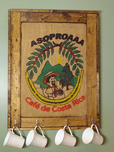 Amazon.com: Reclaimed wood framed coffee bean sack, Framed Burlap ...