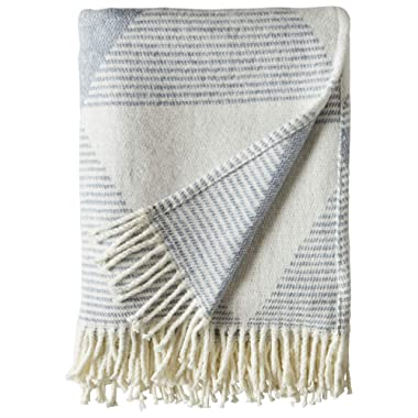 Rivet Geo Throw, Soft and Stylish, 50  x 60 , Ivory and Blue