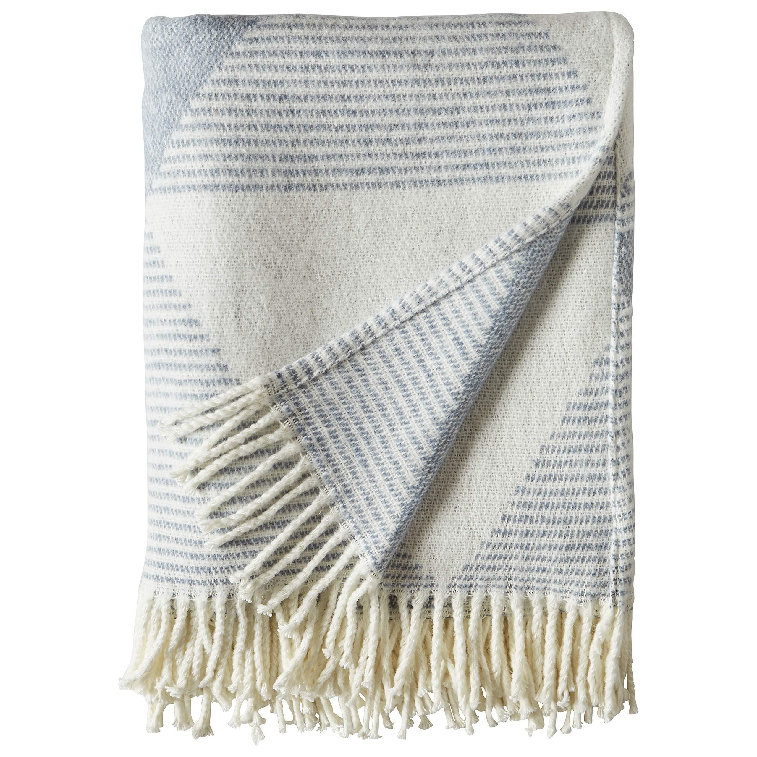 80 x 60 Inch Grey Rivet Chenille Knit Tassel Throw Blanket