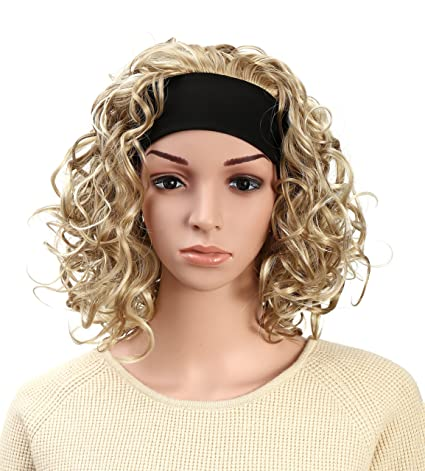 Onedor 16 Inch Curly Hair 3 4 Half Head Synthetic Hair Wig With Black Headband L16 163