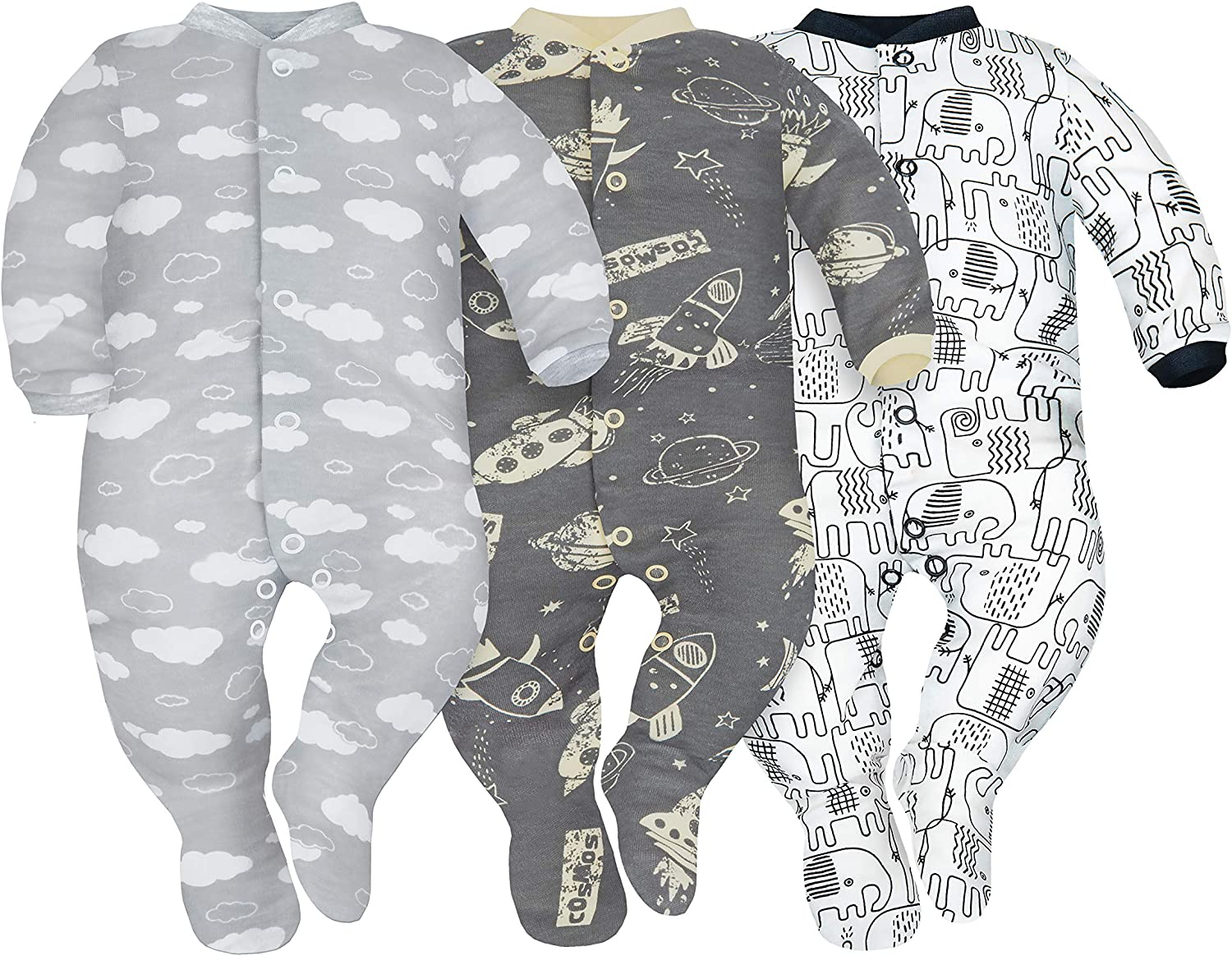 Sizes 0-9 Months Pack of 3 SIBINULO Baby Boys Baby Girls Sleepsuit with Feet Mix